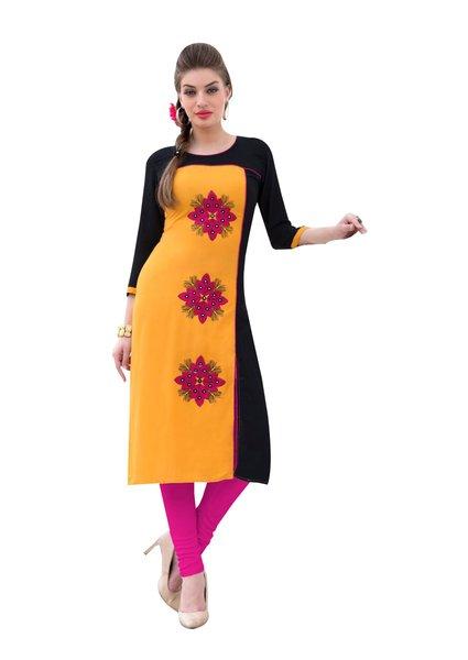 Designer Rayon Cotton Yellow Embroidered Long Kurta Kurti Size XL SCKS109