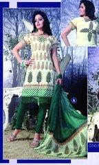 Spun Cotton Cream & Green Lacer Salwar Kameez Churidar Dress Meterial SC 1053A