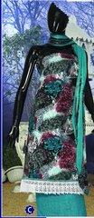 Spun Cotton Multi Green Lacer Salwar Kameez Churidar Dress Meterial SC 1063C