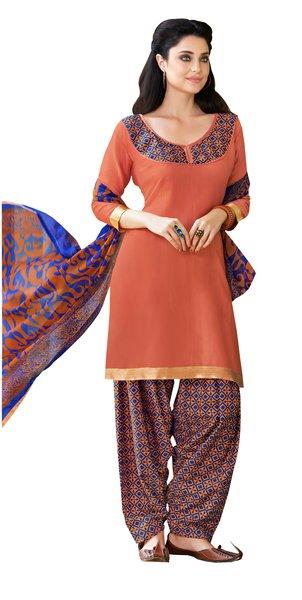 Orange Cotton Patiala Printed Dress Material