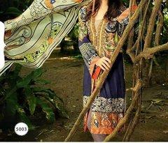 Designer Pakistani Printed Glazed Blue Off White Pant Style Dress material F5003