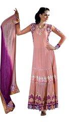 Peach Georgette Princess Cut Anarkali Dress Material