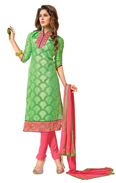 Green Pure Jacquard Georgette Straight Cut Dress Material