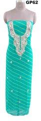 Jaipuri Lehariya Georgette Gotta Patti work Turquoise Kurti Kurta Fabric GP62