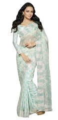 Designer Blue Schiffli Embroidered Net saree SC9015B