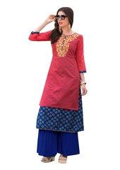 Designer Pink Rayon Cotton Kora Silk Layered Embroidered Long Kurta Dress Size XL SCKSD214