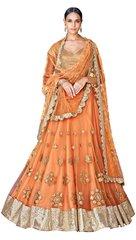 Orange Net Lehenga Choli Dupatta Fabric Only SC5049