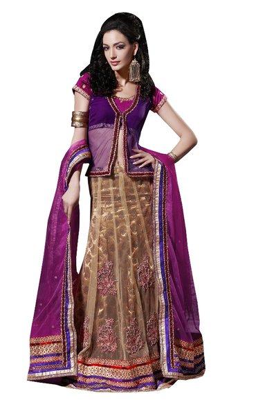 Purple Net Lehenga Choli Dupatta Fabric Only SC515
