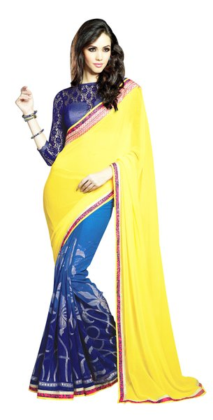 Designer Yellow Blue Georgette Exclusive Blouse Fabric Saree SC409