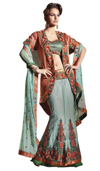 Net Chiffon and Jequard Turquoise Embroidered Lehenga Choli Ghagra SC6105