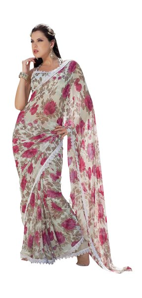 Lacer Printed White Pink Georgette Saree SC896B