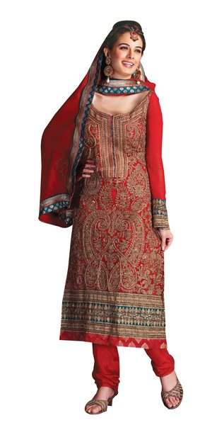 Anvi Creations Reddish Orange Pure Georgette Straight Cut Dress Material