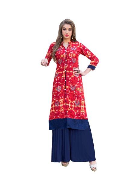 Designer Rayon Cotton Red Embroidered Long Kurta Kurti Size XL SCKS102