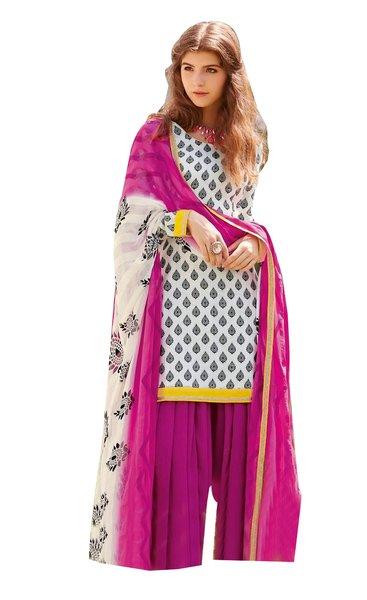 Designer Bhagalpuri printed Pink white Salwar kameez Material SC6386B