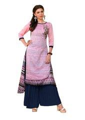 Designer Pink Rayon Cotton Kora Silk Layered Embroidered Long Kurta Dress Size XL SCKSD208