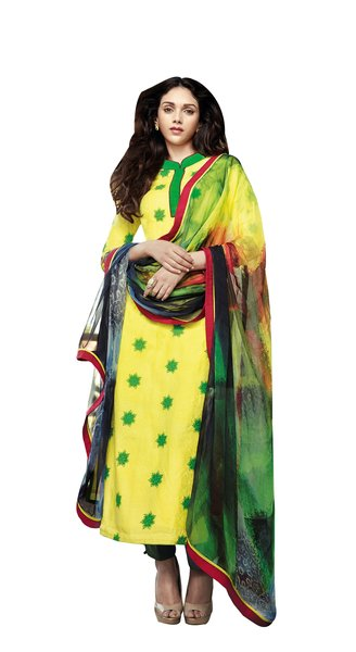 Aditi Rao Cotton Jequard Yellow Green Embroidered Dress Material SC9059