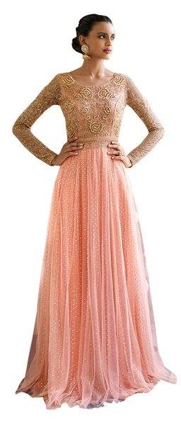 Designer Semi Stitched Peach Fusion Style Net Dress Material