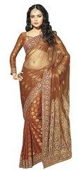 Designer Orrange Schiffli Embroidered Net saree SC9010B