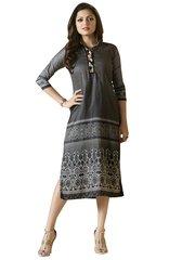 Designer Gray Rayon Kurti Kurta Dress Size XL SCLT913