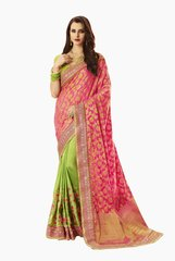 Exclusive Pink Silk Embroidered Saree with designer blouse fabric SC4102