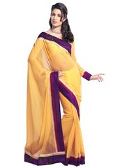 Georgette Embroidered Yellow Saree SC3310A