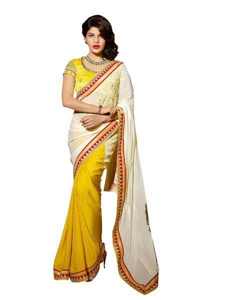 Cream Yellow Embroidered Georgette Saree with Two Blouses SC10102