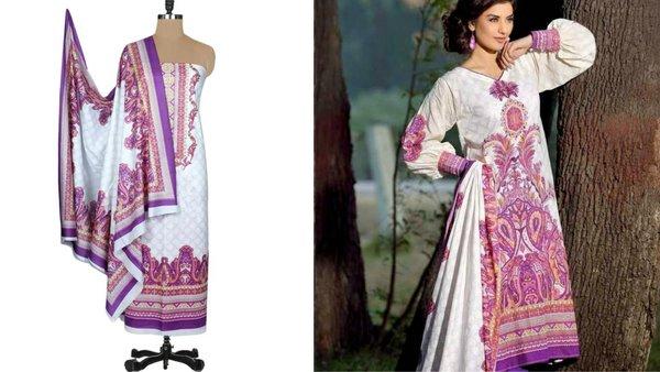 Designer Original Pakistani Sana Samia White Lawn Cotton Dress material SSL4B