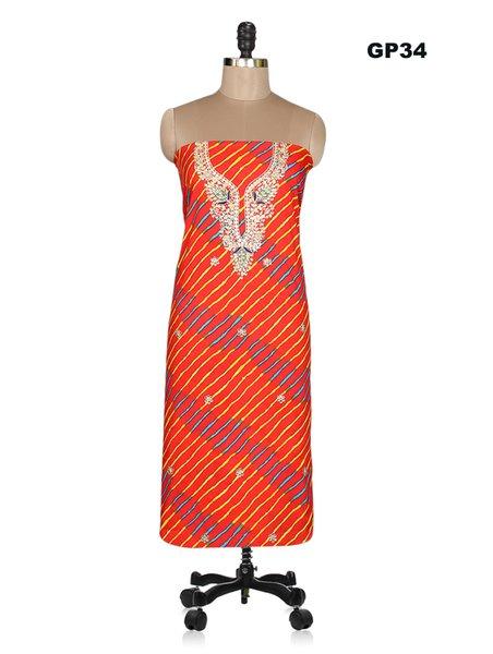 Jaipuri Lehariya Cotton Gotta Patti work Red Kurti Kurta Fabric GP34