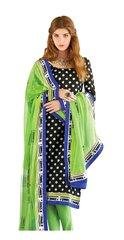 Designer Bhagalpuri printed Black Green Salwar kameez Material SC6388A