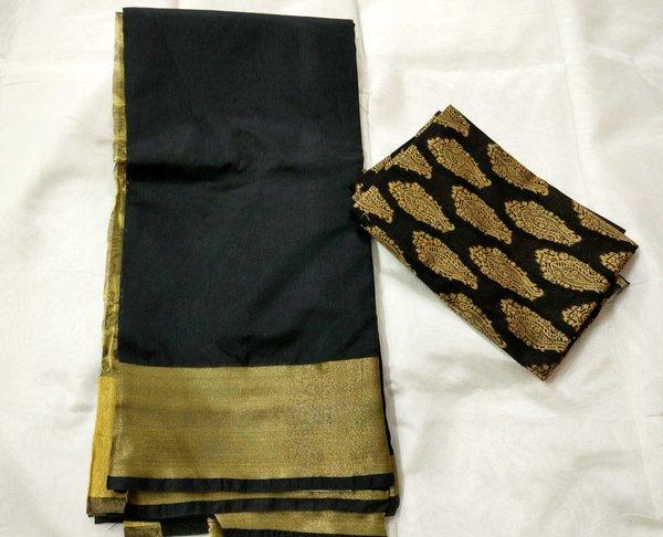 Exclusive Black Chanderi Cotton Silk Saree Antique Zari Border CS44