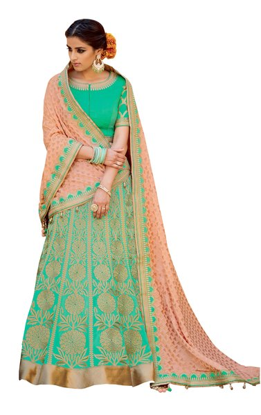 Green Peach Pure Silk Lehenga Choli Dupatta L503