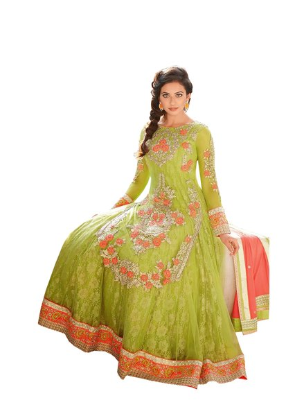 Rakulpreet Green Semi Stitched Anarkali SC7295