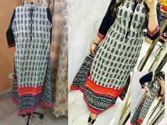 Designer Selfie Offwhite Double Layer Cotton Long Kurta Kurti Dress NV969