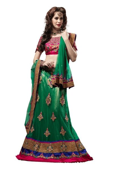 Bridal Green Net Lehenga Choli Dupatta Fabric only LC173
