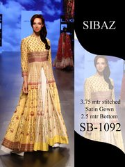 Designer Pakistani Replica Pure Satin Digital Printed Long Gown Size XL SB1092