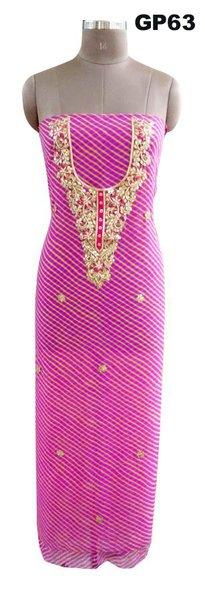 Jaipuri Lehariya Georgette Gotta Patti work Purple Kurti Kurta Fabric GP63