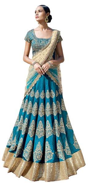 Blue Bhagalpuri Lehenga Choli Dupatta Fabric Only SC5045
