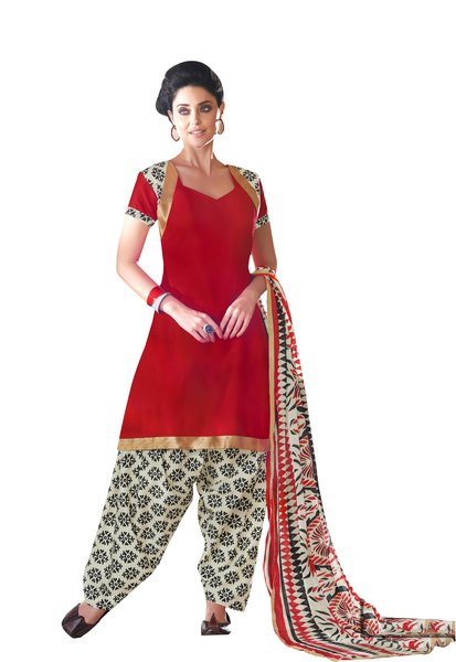 Red Cotton Patiala Printed Dress Material