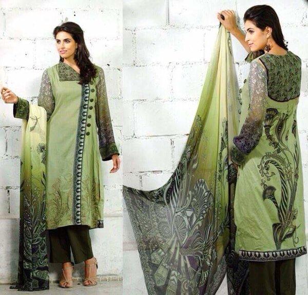Designer Pakistani Replica Green French Crepe Printed Dress Material SUR3