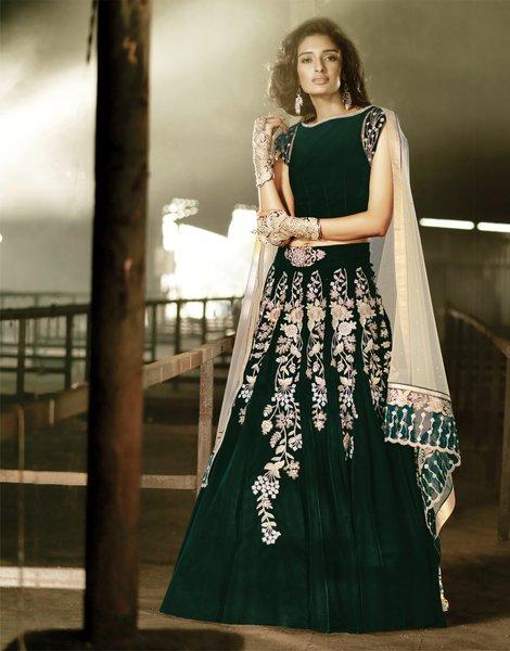Heavy Wedding  Velvet Green Lehenga Choli SC15001