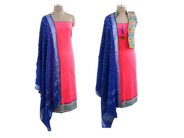 Exclusive Pink Cotton Dress Material With Kutchi Embroidered Ethnic Jackets JSD12