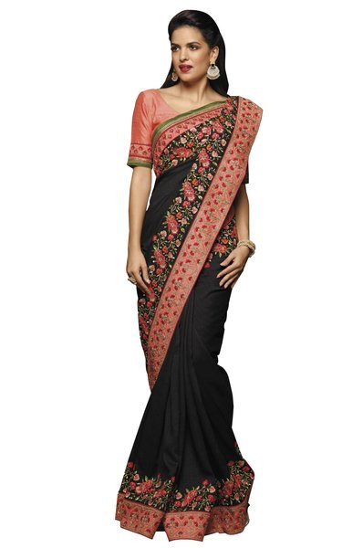 Designer Black Tambour Silk Embroidered Saree with Raw Silk Blouse Fabric SC409