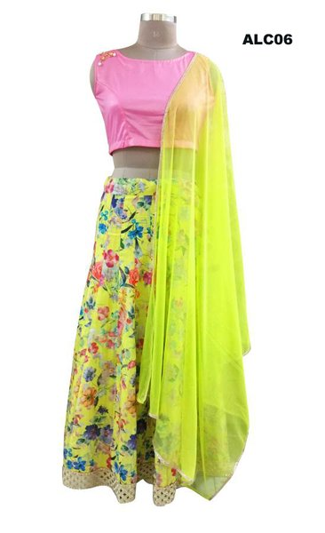 Yellow Floral Lehenga Choli with Shimmer Georgette Crop top and Dupatta ALC06