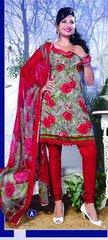 Spun Cotton Red Lacer Salwar Kameez Churidar Dress Meterial SC 1052A