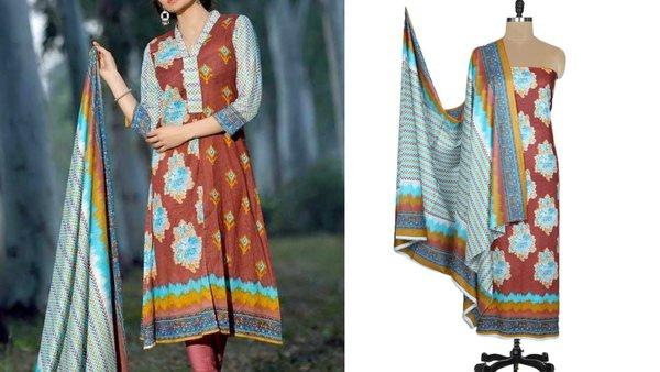 Designer Original Pakistani Sana Samia Brown Lawn Cotton Dress material SSL8B