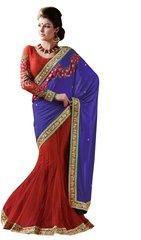 Designer Red Blue Embellished Net Georgette Lehenga saree SC4002