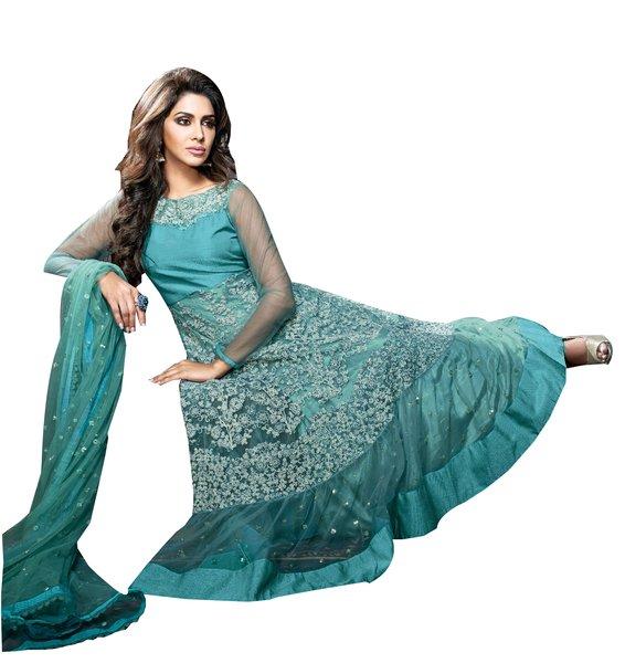 Designer Semi Stitched Blue Net Long Anarkali Dress Material SC2610