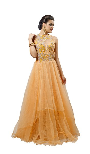 Designer Semi Stitched Western Dress Light Yellow Net Long Gown SC1048
