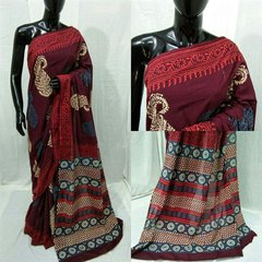 Exclusive Ajrakh Hand Block Printed Maroon Cotton Saree NV06