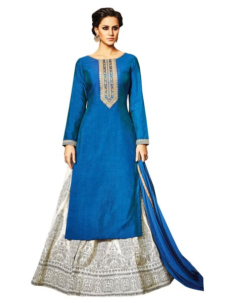 Semi Stitched Blue Cream Long Kurta Lehenga Embroidered Dress Material VP10006